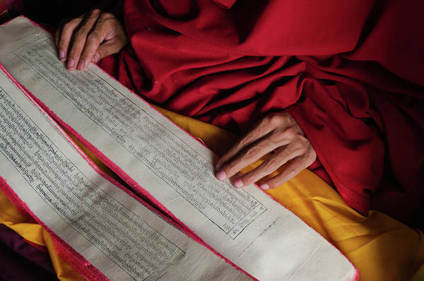 Text Photograph - Reading Bouddhist Text In Kham, Tibet by Ducoin David