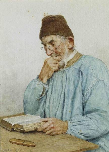 Anker Digital Art - Reading Grandfather by Brahaman Dhumsi