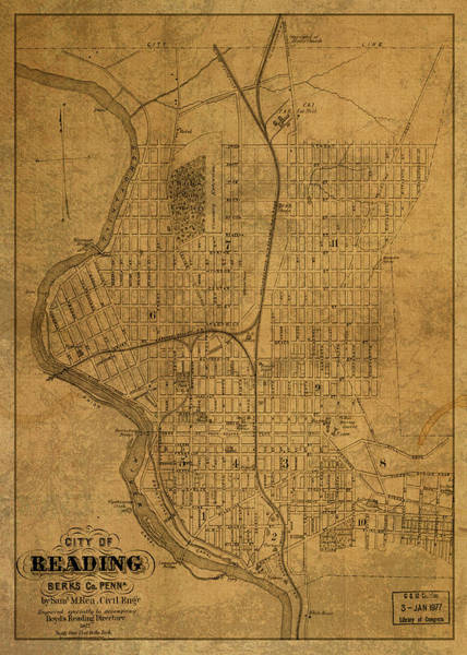 Reading Mixed Media - Reading Pennsylvania Vintage City Street Map 1877 by Design Turnpike