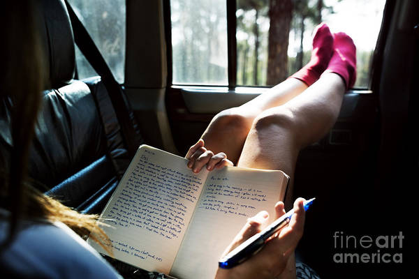 Woman Reading Wall Art - Photograph - Reading Study Camping Car Hobby Concept by Rawpixel.com