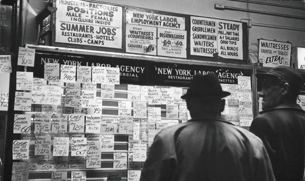 Reading Photograph - Reading The Job Board by Fred W. McDarrah