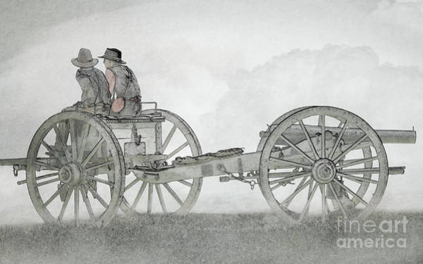 Wall Art - Digital Art - Ready For Action Civil War Cannon Sketch Version by Randy Steele