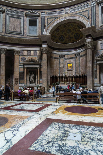 Photograph - Ready For Rain - Cordoned Off Pantheon Interior With The Altar by Georgia Mizuleva