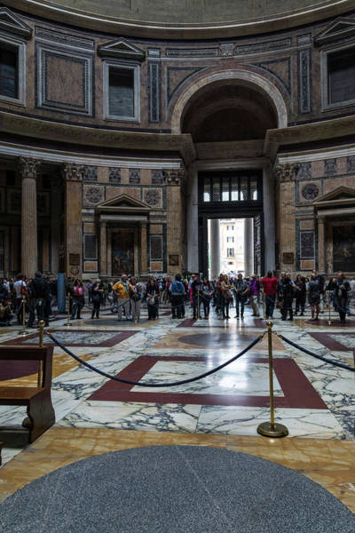 Photograph - Ready For Rainfall - The Pantheon Interior Cordoned Off by Georgia Mizuleva