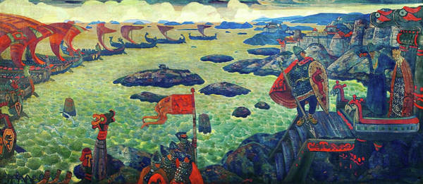 Russian River Painting - Ready For The Campaign, The Varangian Sea - Digital Remastered Edition by Nicholas Roerich