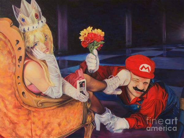 Videogame Painting - Real Life Princess Peach / Super Mario by Sal Carreiro