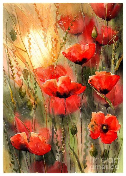 Happiness Painting - Real Red Poppies by Suzann Sines