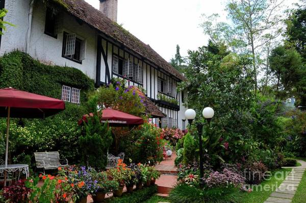 Photograph - Rear Garden And Seating Area Colonial Bungalow Ye Olde Smokehouse Hotel Cameron Highlands Malaysia by Imran Ahmed
