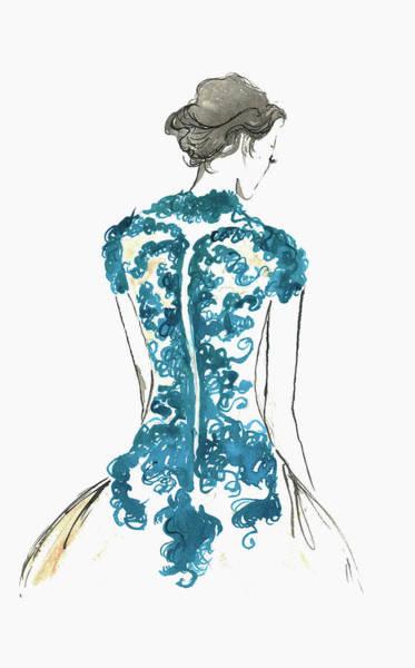 Formalwear Digital Art - Rear View Of Elegant Woman Wearing Lace by Jessica Durrant