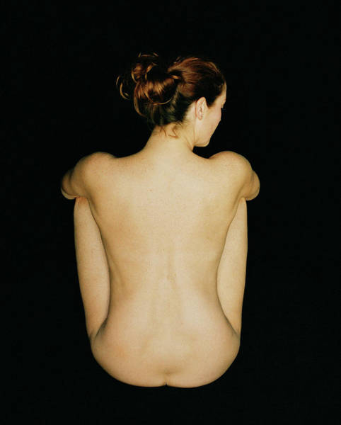 Photograph - Rear View Of Seated Nude Woman by Lisa Marie Thompson