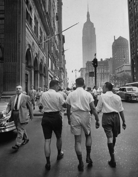 Bermuda Photograph - Rear View Of Three Young Businessmen Wea by Lisa Larsen