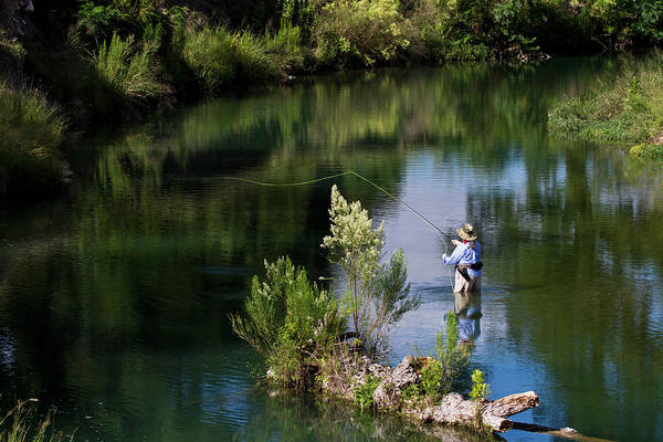 Wading Photograph - Rear View Of Woman Fly-fishing In The by Danita Delimont