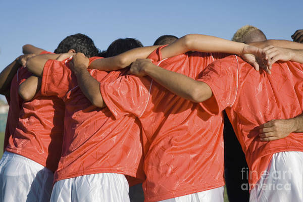 Wall Art - Photograph - Rear View Of Young Soccer Players by Sirtravelalot
