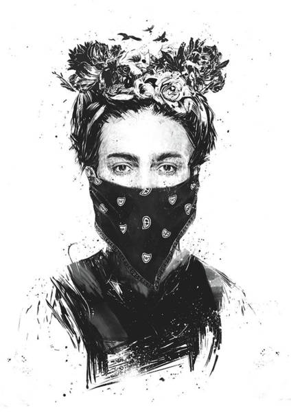 Scarf Drawing - Rebel Girl by Balazs Solti