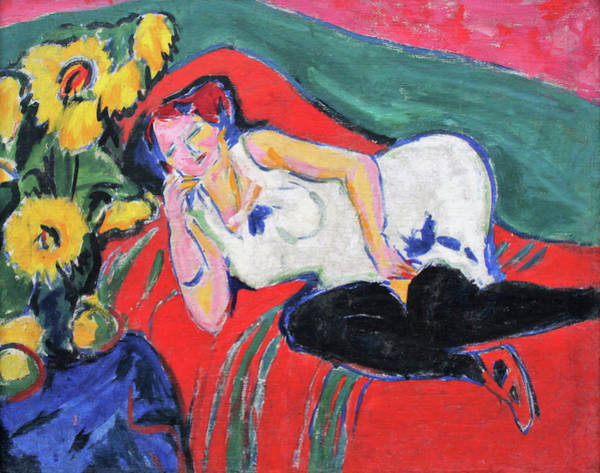 Wall Art - Painting - Reclining, Woman In A White Chemise - Digital Remastered Edition by Ernst Ludwig Kirchner