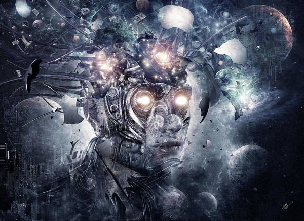 Cyborg Digital Art - Reconstruction by Cameron Gray