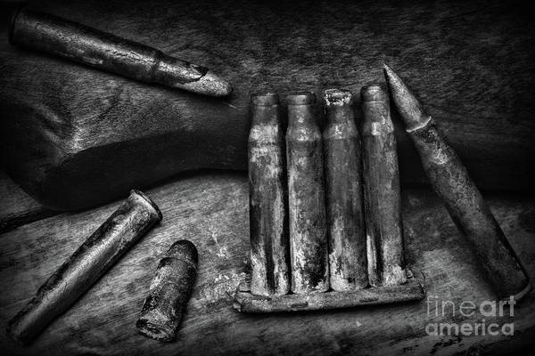 Wall Art - Photograph - Recovered Ww1 Ammo In Black And White by Paul Ward