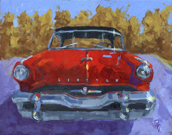 Painting - Red 1954 Lincoln Capri by David King