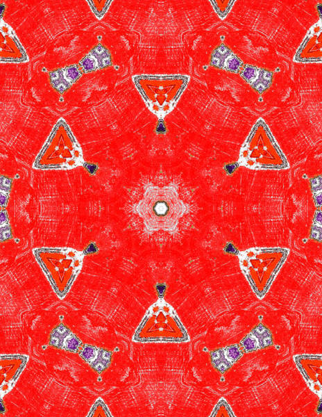 Painting - Red Abstract Pattern Painting 8 by Artist Dot