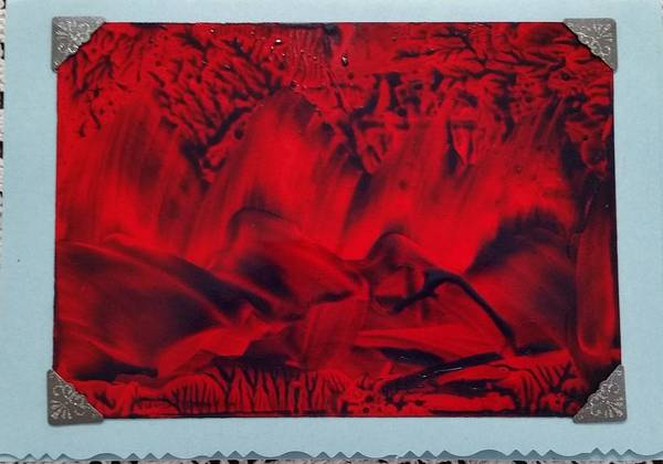 Red And Black Encaustic Abstract Art Print