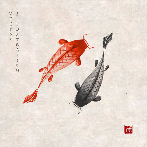 Sumi Wall Art - Digital Art - Red And Black Koi Carps Hand Drawn With by Elina Li
