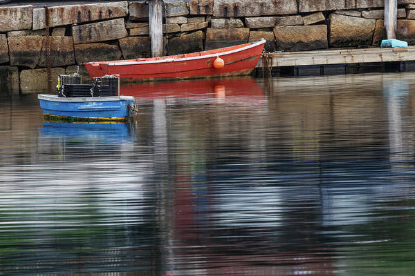 Wall Art - Photograph - Red And Blue Row Boats On Rainy Day by Adam Jones