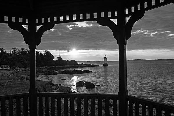 Photograph - Red And Gold Sunrise Salem Ma Winter Island Fort Pickering Light From The Gazebo Black And White by Toby McGuire