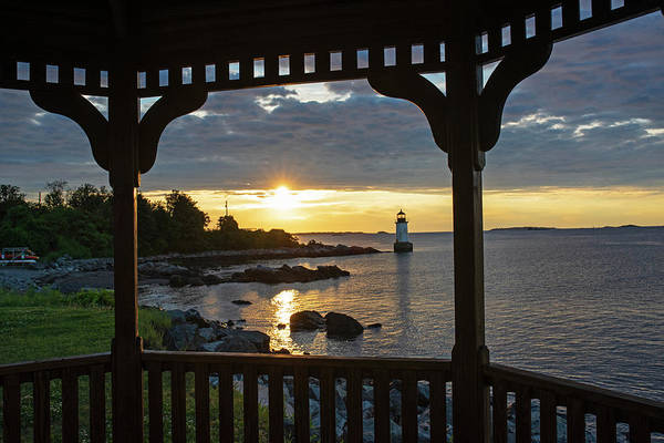 Photograph - Red And Gold Sunrise Salem Ma Winter Island Fort Pickering Light From The Gazebo by Toby McGuire