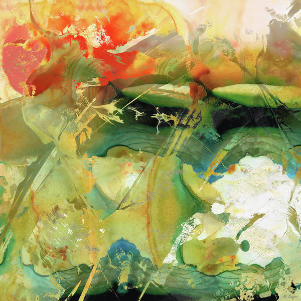 Painting - Red And Green Abstract - Soul Flight - Sharon Cummings by Sharon Cummings