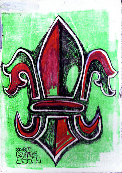 Organic Drawing - Red And Green Fleur De Lys Drawing by Genevieve Esson
