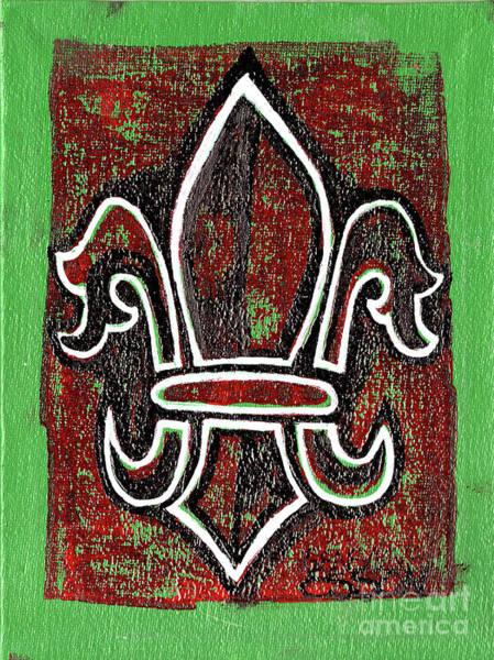 Fleur De Lys Painting - Red And Green Fleur De Lys by Genevieve Esson