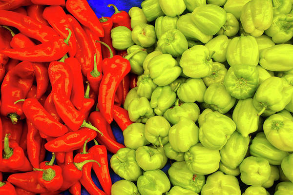 Photograph - Red And Green Peppers In The Central Market by Steve Estvanik