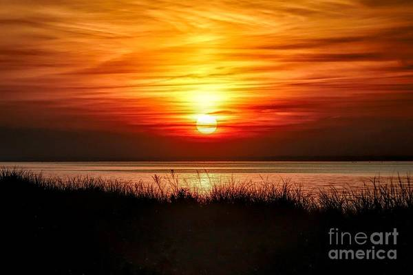 Wall Art - Photograph - Red And Orange Sunset On Long Island Sound by Karen Silvestri