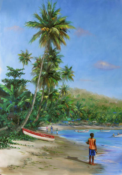 Saint Lucia Painting - Red And White Boat by Jonathan Guy-Gladding JAG