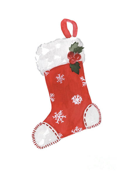 Wall Art - Painting - Red And White Christmas Stocking With Snowflake Pattern Decorated With Holly by Joanna Szmerdt