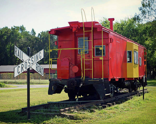 Photograph - Red And Yellow Caboose At Nassawadox by Bill Swartwout Photography