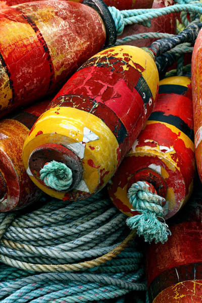 Float Wall Art - Photograph - Red And Yellow Crab Pot Buoys by Carol Leigh