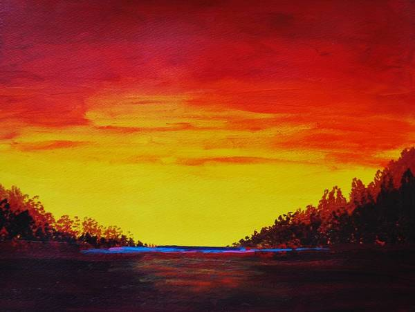 Wall Art - Digital Art - Red And Yellow Evening by Brahaman Dhumsi