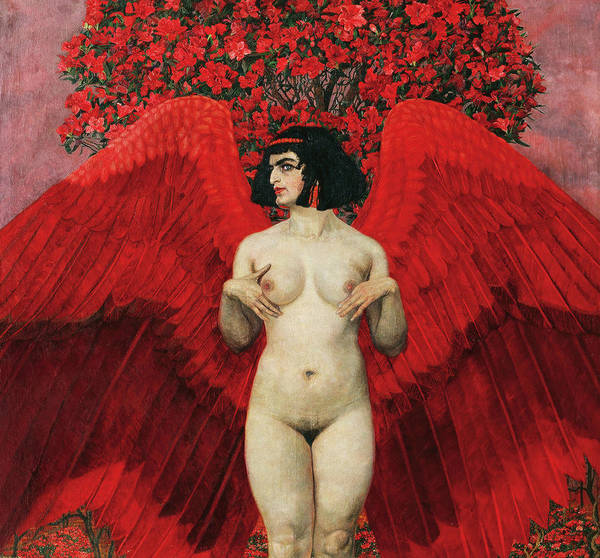 Wall Art - Painting - Red Angel by Karl Mediz