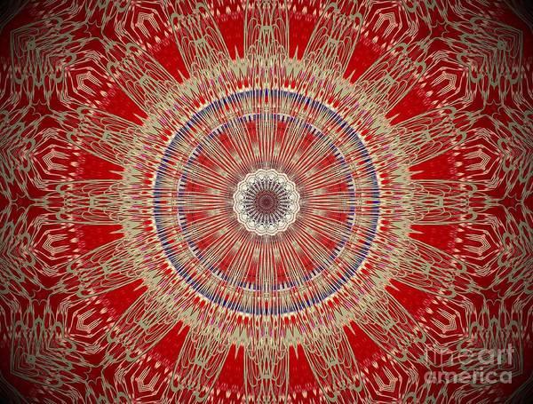 Digital Art - Red Antique Gold Mandala by Sheila Wenzel