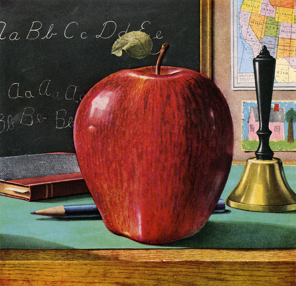 Archival Digital Art - Red Apple On Teachers Desk by Graphicaartis