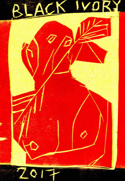 Digital Art - Red, Arrow Man Black Ivory Woodcut Poster 30 by Artist Dot