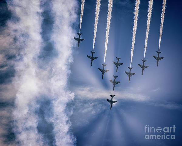 Photograph - Red Arrows At Torbay Airshow by Edmund Nagele