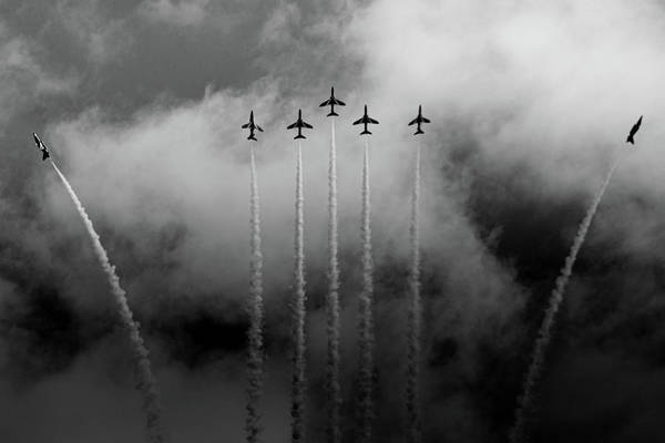 Photograph - Red Arrows Black And White Break by Scott Lyons