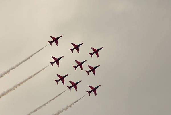 Photograph - Red Arrows Diamond Formation Raf Cosford 2019 by Scott Lyons