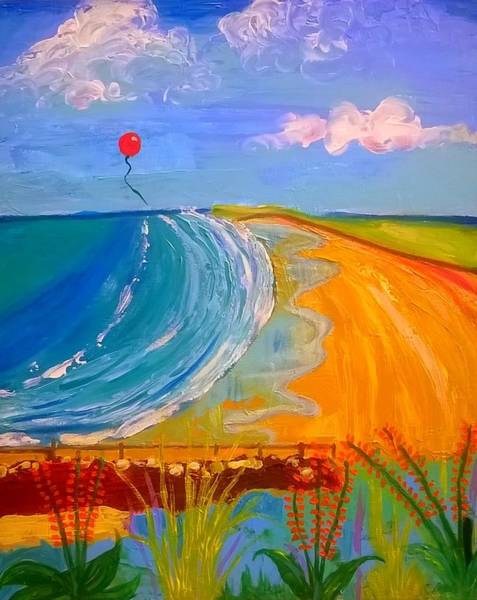 Painting - Red Balloon Over Rhossili Bay by Rusty Gladdish