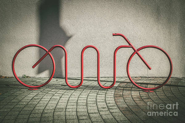 Bicycle Rack Photograph - Red Bike Rack by Colleen Kammerer