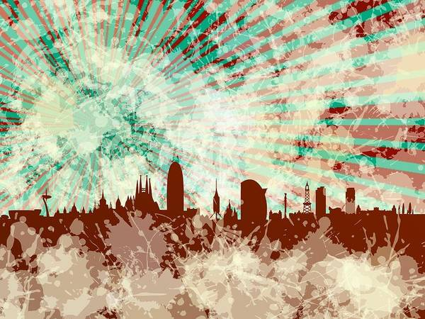 Digital Art - Red Barcelona Skyline by Alberto RuiZ