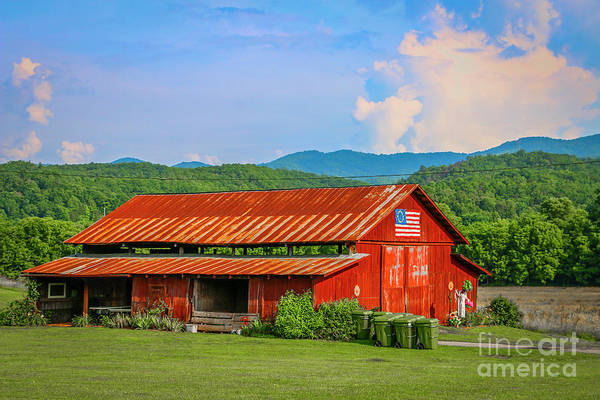 Photograph - Red Barn And Blue Sky by Tom Claud