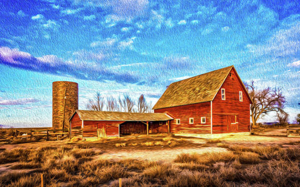 Silo Wall Art - Photograph - Red Barn And Brick Silo by Christopher Thomas